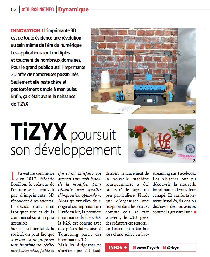 Article Tourcoinginfo TiZYX imprimante 3D multifonctions TiZYX EVY