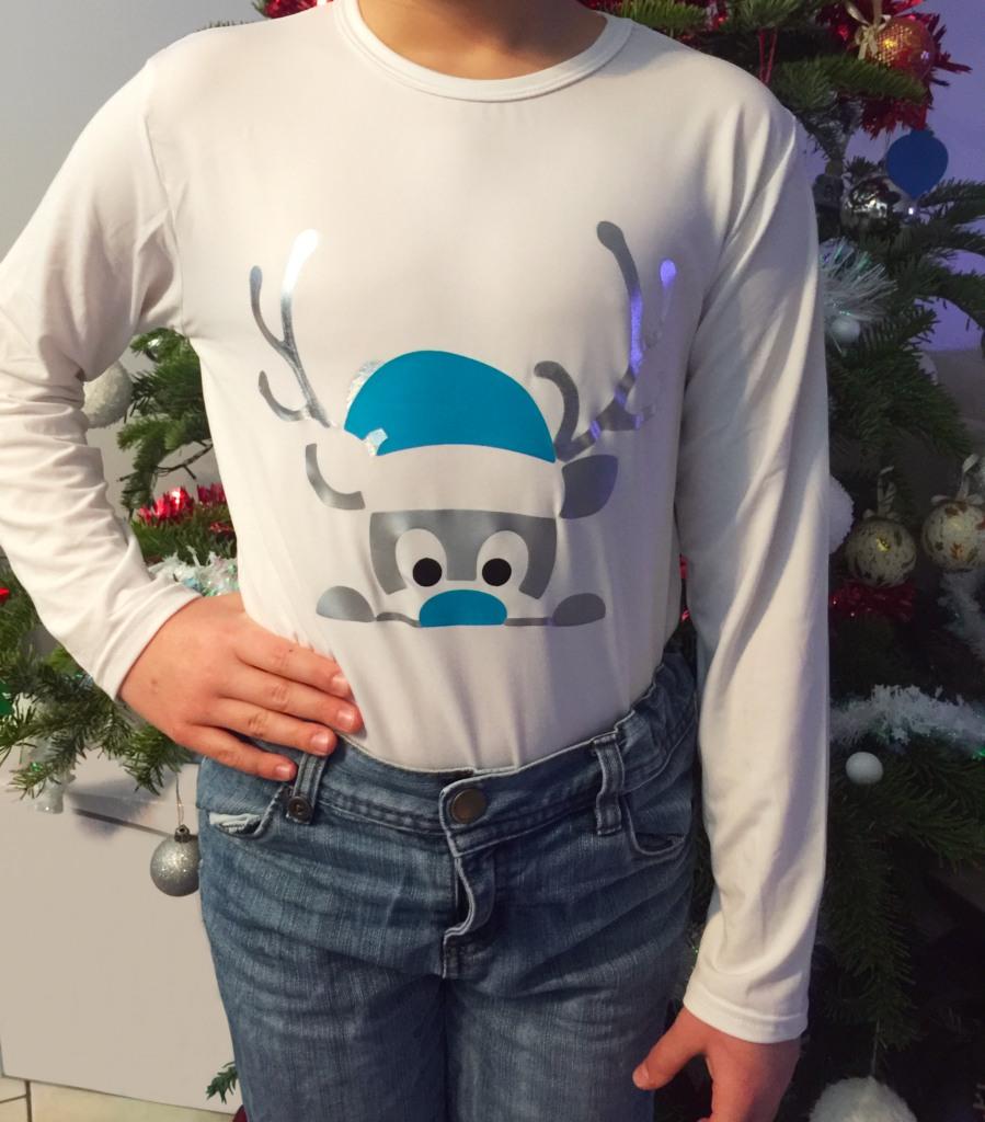 Flocage renne de noël tee-shirt outil cutter EVY